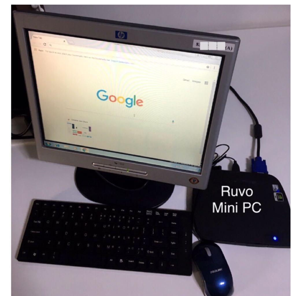 """Full set plug and play Mini PC with 15"""" HP monitor, HDD"""