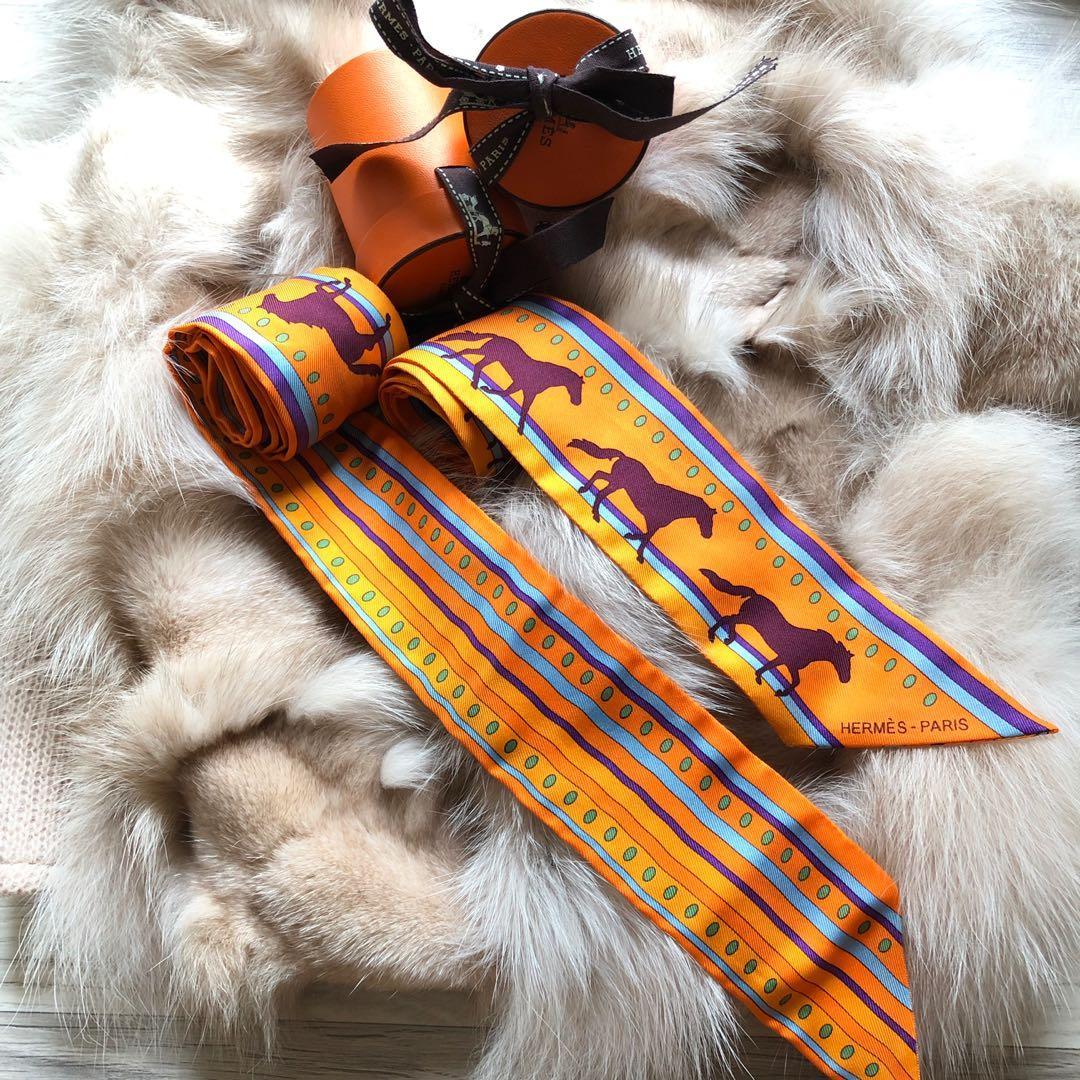 Hermès twilly 經典橘色小馬