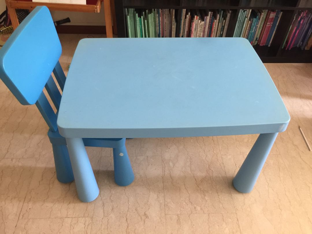 Ikea Kids Table With Two Chair Blue And Green Furniture Tables Chairs On Carousell