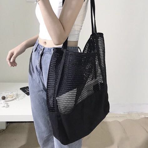 10312cd01 Instock Netted Sheer Mesh Tote Bag Black Beach Shopping Travel Recycle  Outdoor Swim Swimming Pool Bag Large Capacity Net, Women's Fashion, Bags &  Wallets, ...