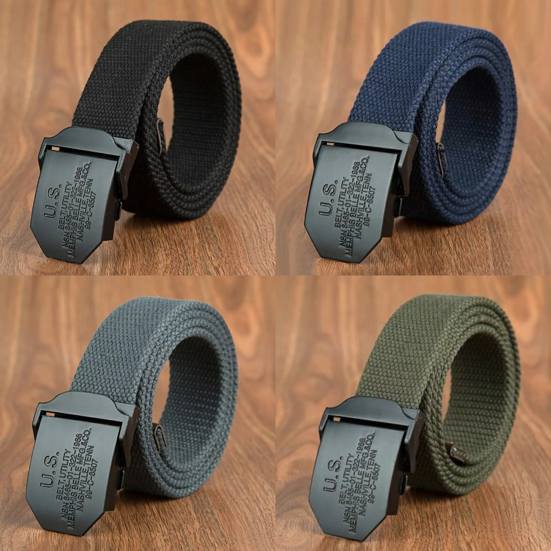 f0c9feeb39d Limited Stock Men Canvas Casual Belt Black Automatic Buckle