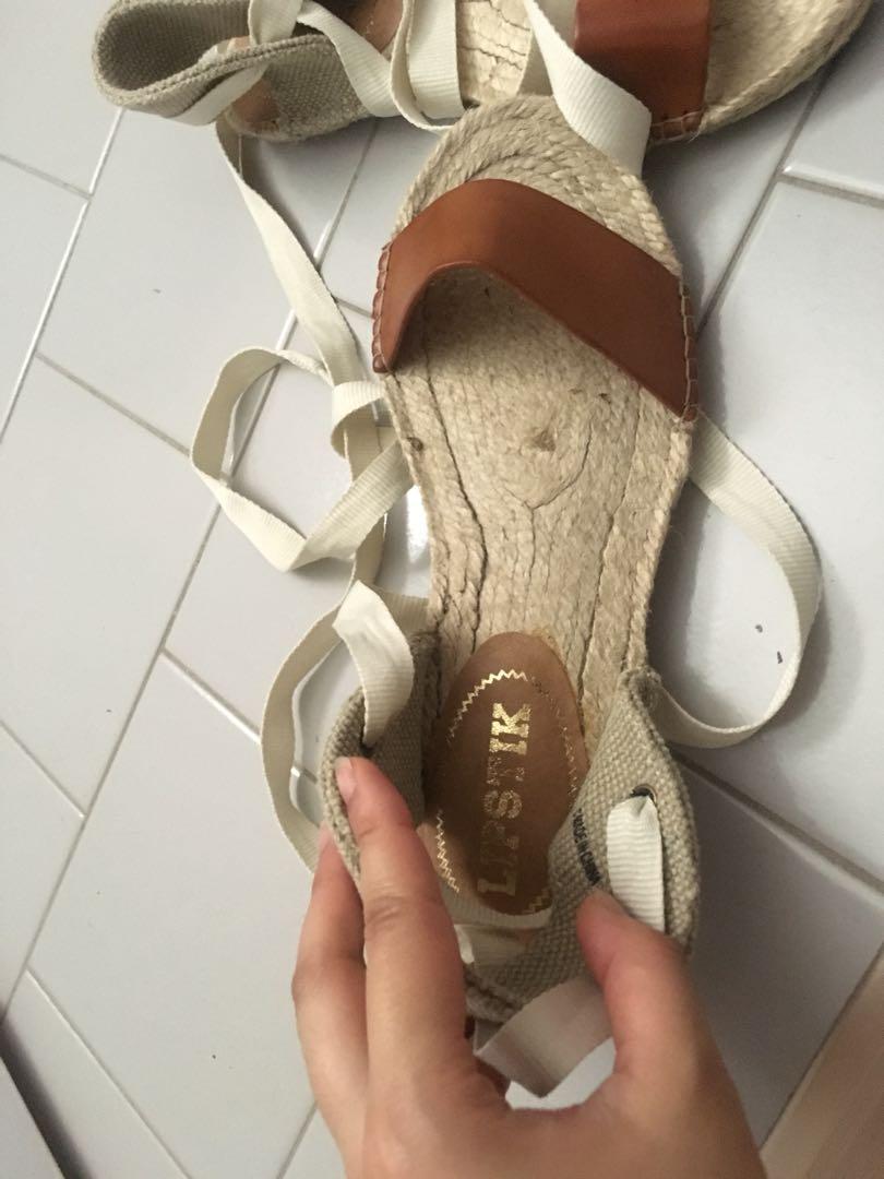 Lipstick brown leather hemp casual beach tie up sandals