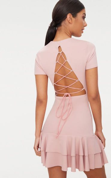 ca23bbdc0df Pretty Little Thing (PLT) Dusty Pink Lace Up Back Frill Hem Bodycon Dress