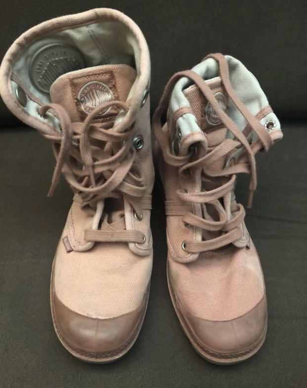 PRICE DROP - Palladium 'Baggy' pink foldover multi-way canvas boots
