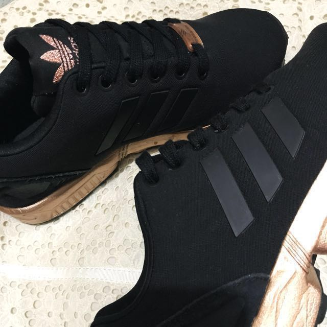 187cca872 adidas rose gold and black zx flux