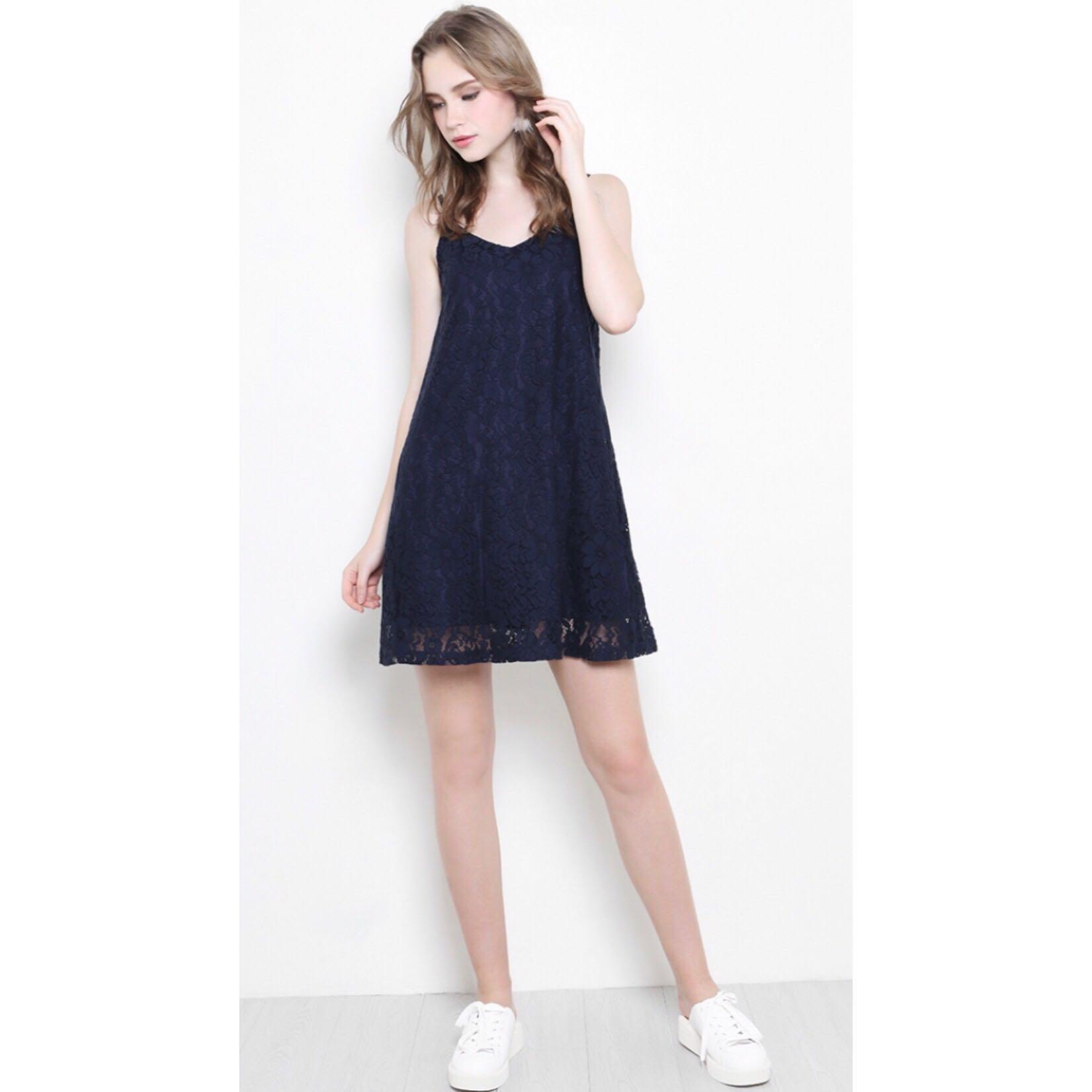db3e9c5a967a SSD Shopsassydream Taryn Lace/Crochet Navy Cami Slip Dress, Women's ...