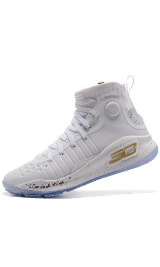 c7eddfd9203945 Stephen Curry UA Curry 4 Basketball Shoes High Tops White Gold ...