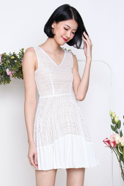 6bccb69be41b0 Tricia Lace Pleat Dress in White, Women's Fashion, Clothes, Dresses &  Skirts on Carousell