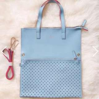 Authentic Italy Tocco Toscano Eyelet Clutch & Leather Bag Set in Blue