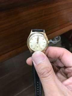 寶露華 10k 包金 小三針 手錶
