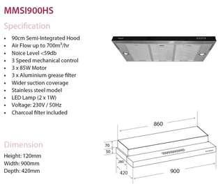 Mayer Slimline cooker Hood MMSI900HS (90cm)