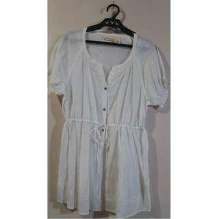 Women White DKNY Blouse Medium 52% Viscose 48% Cotton