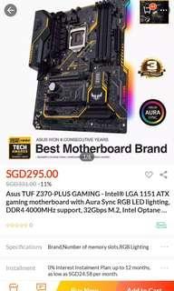 Asus TUF Z370 PLUS GAMING motherboard Black Friday
