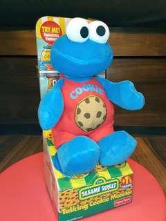1998 vtg Talking Cookie Monster 22cm Sesame Street Fisher Price Tyco 芝麻街