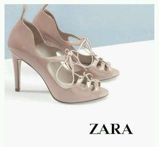 ZARA Nude Patent Lace Up Heels