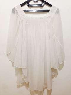 Blouse Chiffon Silk Smooth White