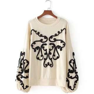 LOOKING FOR Zara Embroidered Oversize Knit Jumper Blouse Top