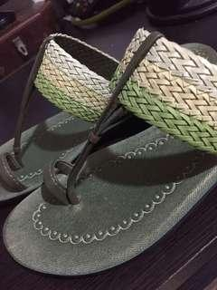 Green slippers. Made in India