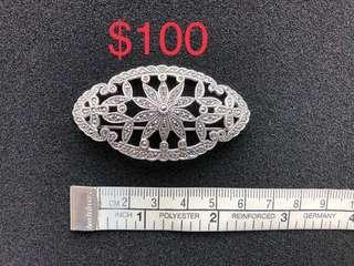 925 Silver 礦石心口針