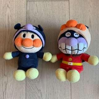 Anpanman and Baikinman removable hat soft toys