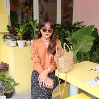 Orange top blouse import bkk