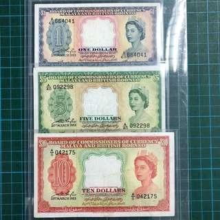 1953 $1 $5 $10