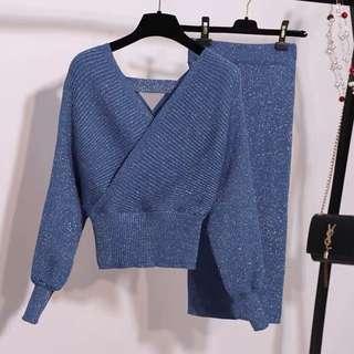 全新 針織包臀兩件式裙裝