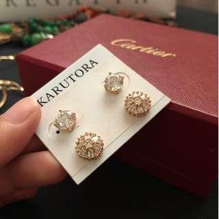 Karutora gold plated earrings