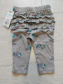 🚚 BNWT 6-9m baby girl grey leggings with cat print and frills