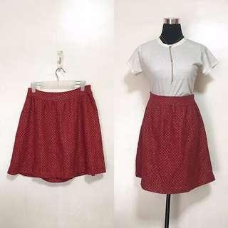 Red Gold Textured Skirt