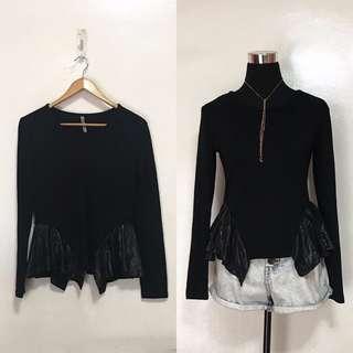 Black Long Sleeves w Metallic Ruffles