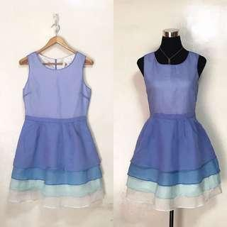 BREAD N BUTTER Blue Purple Ombre Cocktail Party Semi Formal Sleeveless Dress