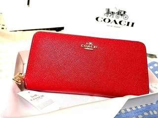 Coach 52372 Crossgrain Leather Accordion Zip Around Wrist Purse Classic Red