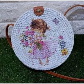 Rattan Bag Girl with Flowers