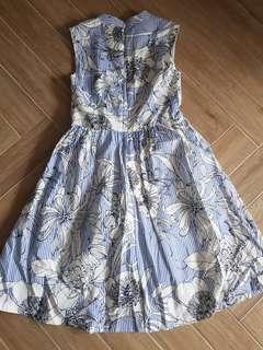 Japanese Print Floral Light Blue Picnic Dress