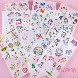 🚚 [STI]Unicorn Stickers Pack (6 Sheets in a pack 6 different design)