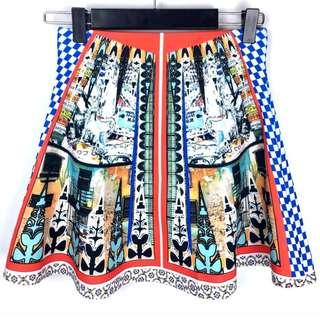 Multicolour XS/S russian women scuba high waist skirt colorful fashion blogger