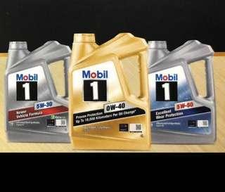 Mobil 1 full synthetic 4 litres engine oil servicing packages usual from $138.  Promotions starts from $88 for Facebook and Carousell users STRICTLY by registering with an appointment with SBA only.  0w-40 Gold, 5W-30 dexos 2, 5W-30 ESP, 5W-50, 10W-60.