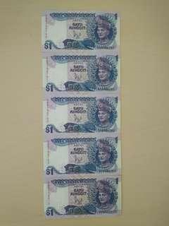 Old RM1 Malaysian Notes x5 #MY1212