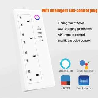 Smart Wifi Power Board, Surge Protector, 4 Smart Sub-Control Power Sockets, Remote Voice Control Compatible With Amazon Alexa Google Home