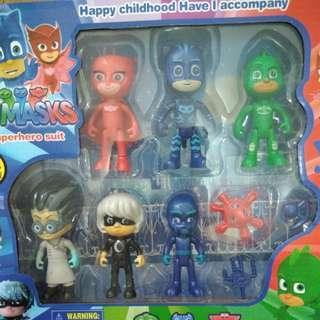 BRANDNEW 6pcs PJ MASK MAIN CHARACTERS with WEAPONS