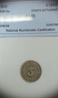 Graded AU55 1910 Silver 5 Cents