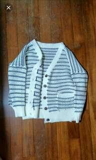 Nautical Striped Knit Cardigan