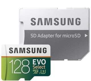BNIP Samsung 128GB 100MB/s (U3) MicroSD EVO Select Memory Card with Adapter (MB-ME128GA/AM)