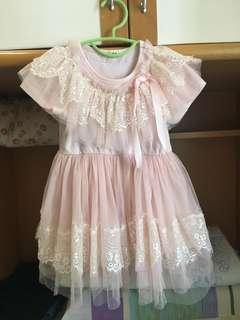粉紅色女童紗裙90碼
