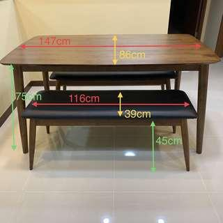 Like New Dining Table & 2 Benches