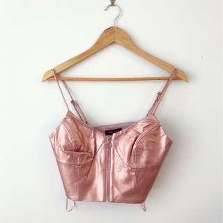 Brand new metallic pink faux leather bralette crop top