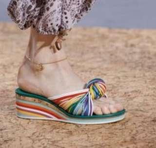 Authentic Chloe rainbow front knot sandles