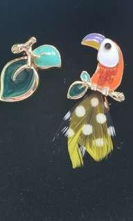 Feather parrot earrings