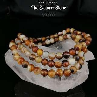 🚚 The Explorer Stone Crystal 108 Mala Elastic - Botswana Eye Agate (6mm Bead) - A Stone guides you to Explore into the Unknown Layer by Layer & to bring up your Creativity to deal with Life Matters. Good for Grounding.